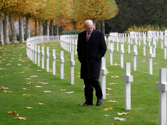White House Chief of Staff John Kelly at the Aisne-Marne American Cemetery dedicated to the US soldiers killed in the Belleau Wood battle   President Trump criticised for missing war graves visit due to weather skynews cemetary paris france 4482979