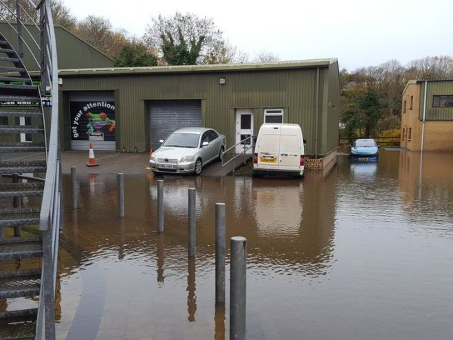 The flooded industrial unit meant some couldn't get to work. Pic: @dsignstudio1992