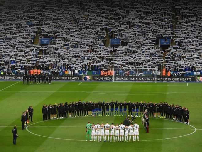 The fans and players fell silent for two minutes before the game