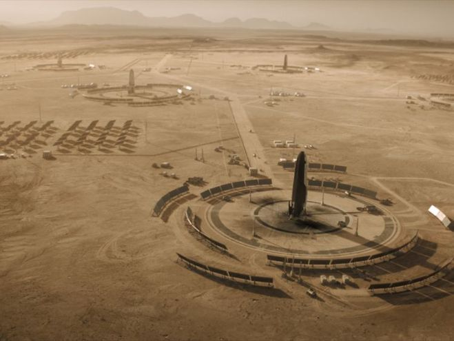 Mars - Five years have passed since we last saw the Olympus Town settlement. Launch pads dot the Martian surface and solar panels work to provide the colony with energy.(National Geographic)