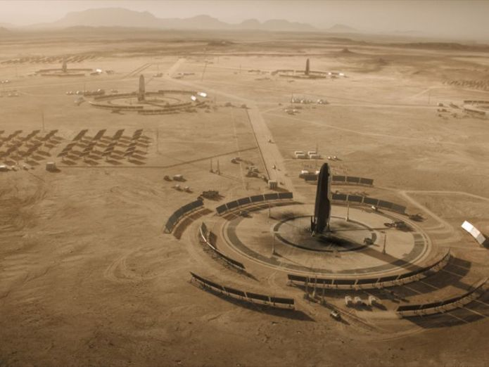 Mars - Five years have passed since we last saw the Olympus Town settlement. Launch pads dot the Martian surface and solar panels work to provide the colony with energy.(National Geographic)  Humans on Mars? That's just the beginning skynews mars ron howard 4478045