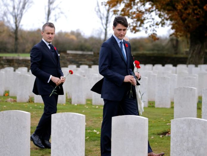 Justin Trudeau has been at the Canadian graves in France  Trump cancels Armistice cemetery visit 'due to bad weather' skynews trudeau armistice france 4482425