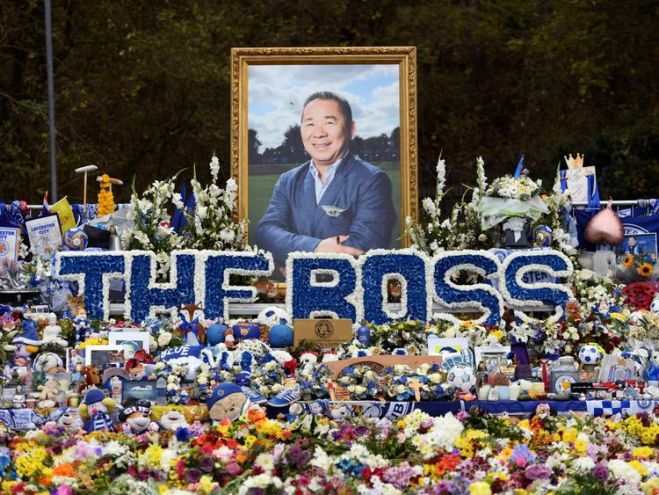 A sea of flowers in tribute to 'The Boss' Vichai Srivaddhanaprabha