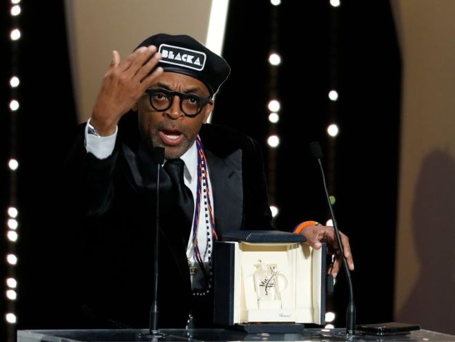Spike Lee after winning the Grand Prix at the Cannes Film Festival