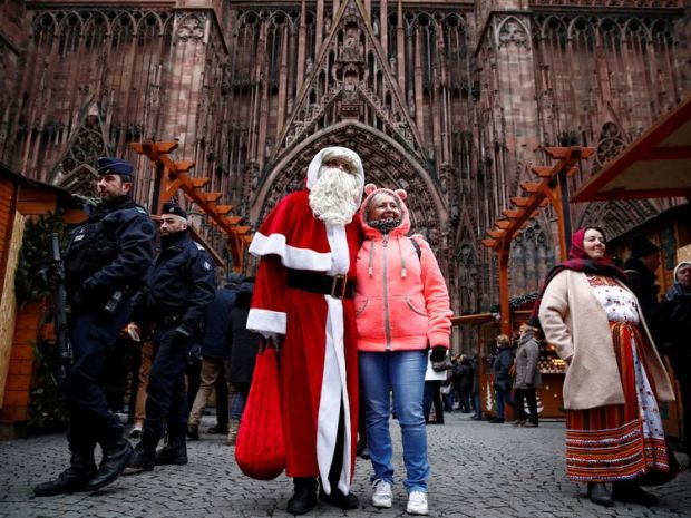French police patrol outside the Strasbourg Cathedral