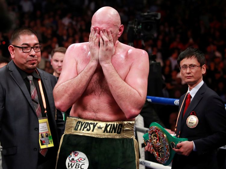 Fury reacts after the fight