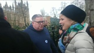 Conservative MP Anna Soubry encounters protesters outside parliament