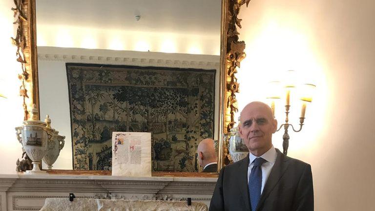 Italian Ambassador Raffaele Trombetta with one of the marbles returned