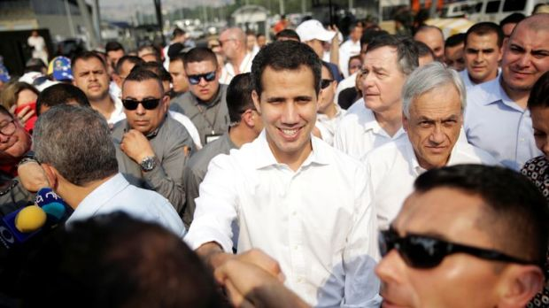Juan Guaido at the Venezeula border with Colombia