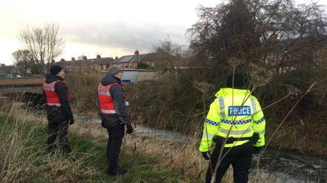 Police searched a river bank near Hull on Saturday