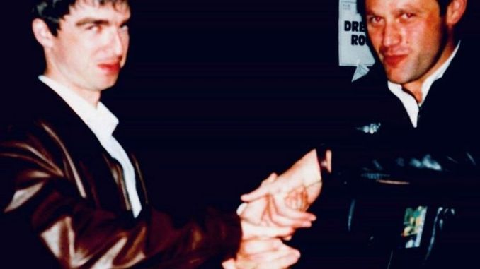 Former Oasis head of security and tour manager Iain Robertson with Noel Gallagher. Pic: RSYG Promotions