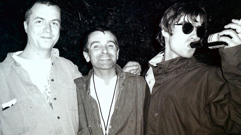 Producer Owen Morris, former Creation Records managing director Tim Abbot and Oasis frontman Liam Gallagher. Pic: RSYG Promotions