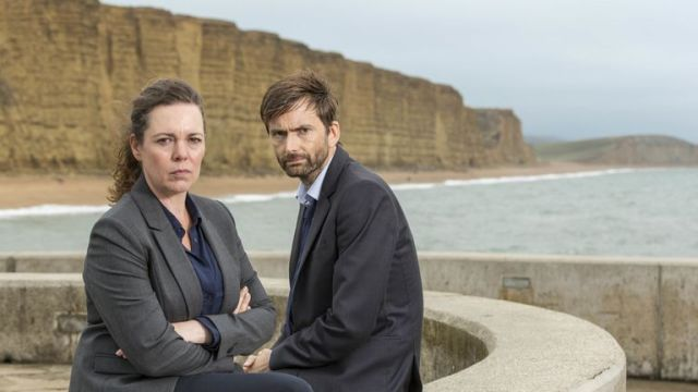 Olivia Colman as DS Ellie Miller and David Tennant as DI Alec Hardy in Broadchurch