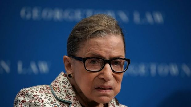 US Supreme Court Justice Ruth Bader Ginsburg participates in a lecture September 26, 2018 at Georgetown University Law Center in Washington, DC