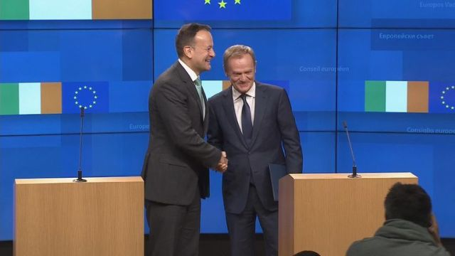 Donald Tusk and Leo Varadkar were speaking at a media conference in Brussels.