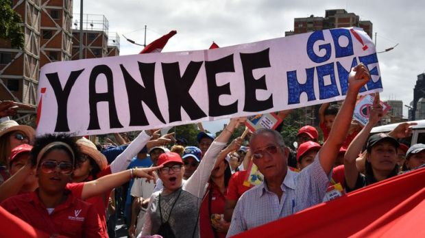 Supporters of Venezuelan President Nicolas Maduro take part in a counter protest in Caracas