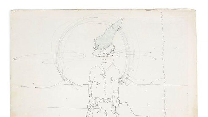 John Lennon sketches a man holding a shovel with his dog