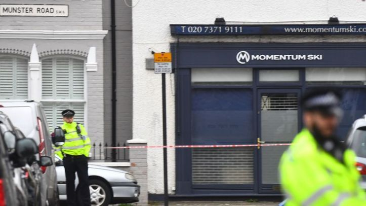 Police at the scene in Fulham, west London where a 29-year-old man was stabbed to death