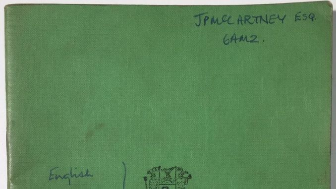 One of the school books Sir Paul McCartney used as a teenager - featuring a doodle of a man smoking and a teacher's critical comments - is going up for auction.