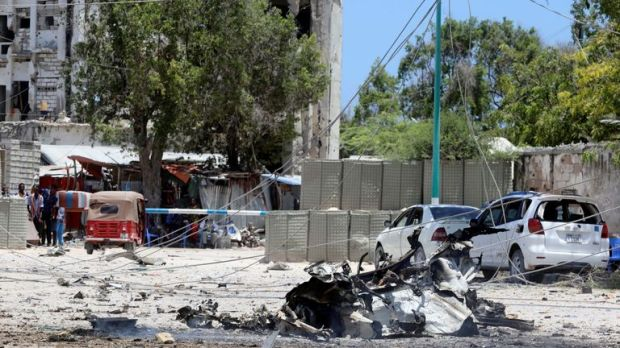 The scene after the explosion near the government building