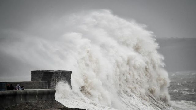 Large waves hit the coast in Porthcawl, Wales.