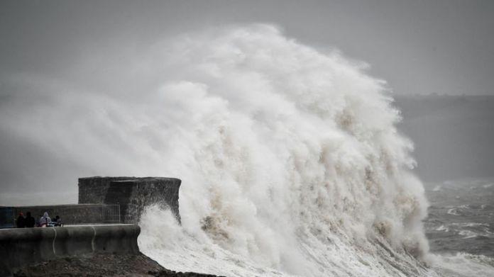 Big waves hit the coast in Porthcawl, Wales.