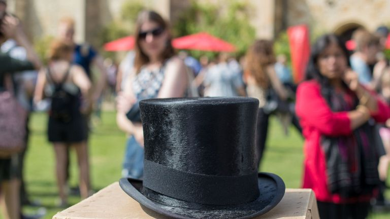 A top hat once belonging to Sir Winston Churchill. Pic: Anna Gordon/BBC