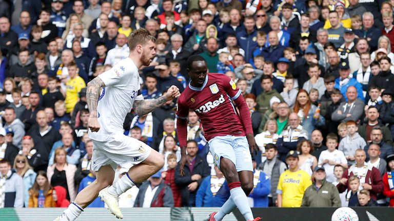 Aston Villa's Albert Adomah scores their first goal