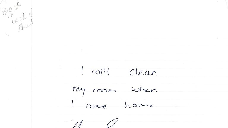 A note from Drake to his mum when he was a kid