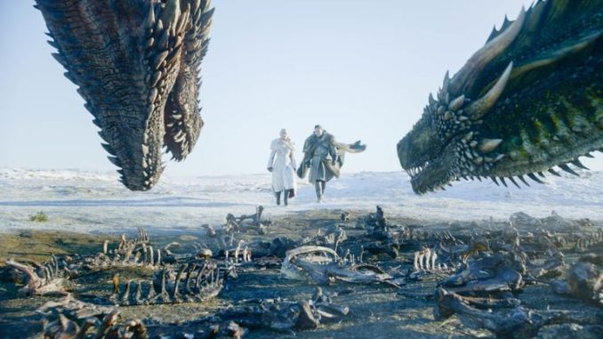 Jon Snow and Daenerys Targaryen in first episode of final series of Game Of Thrones. Pic: Sky Atlantic/ NOW TV/ HBO