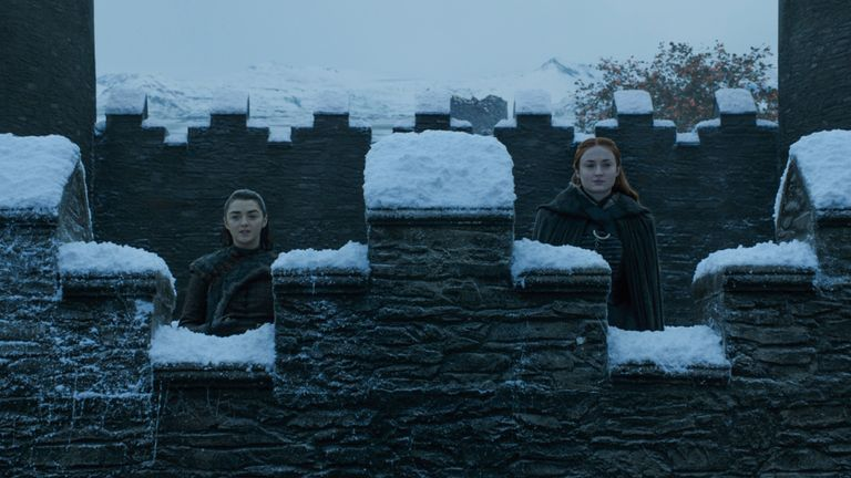 Maisie Williams as Arya Stark and Sophie Turner as Sansa Stark. Pic: Sky Atlantic/ HBO