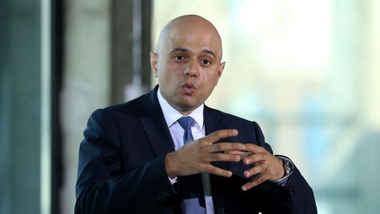 Home Secretary Sajid Javid giving a speech about violent crime at the Oval Space in London