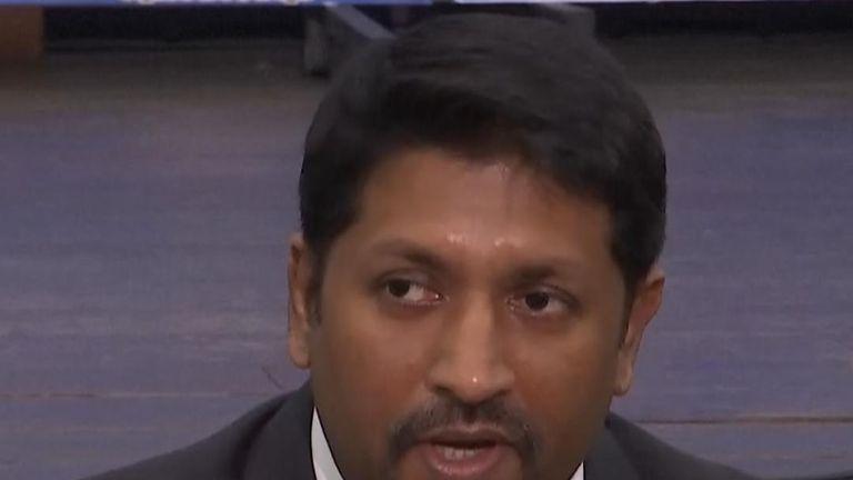 Sri Lanka's deputy defence minister Ruwan Wijewardene updates the gathered media on details about suicide bombings