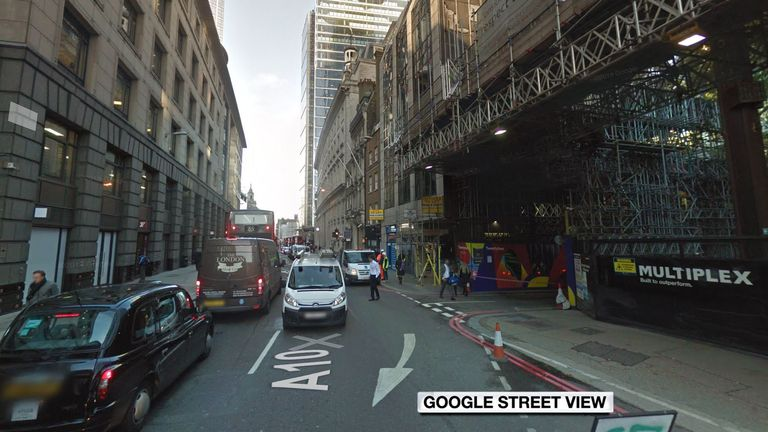 A modern day Streetview image of the area Shakespeare lived