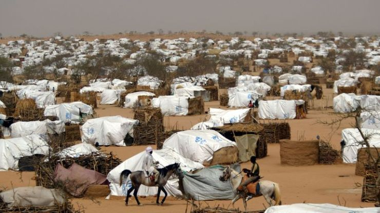A refugee camp in Chad housing thousands who fled from Darfur in 2004