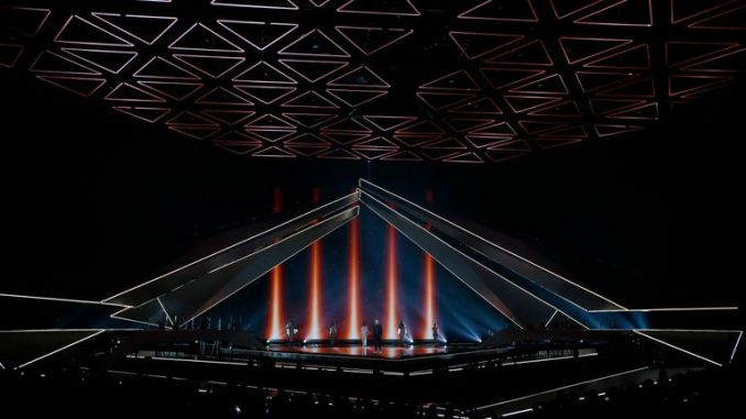 TEL AVIV, ISRAEL - MAY 17: Michael Rice, from United Kingdom, performs  live on stage during the 64th annual Eurovision Song Contest held at Tel Aviv Fairgrounds on May 17, 2019 in Tel Aviv, Israel. (Photo by Michael Campanella/Getty Images)