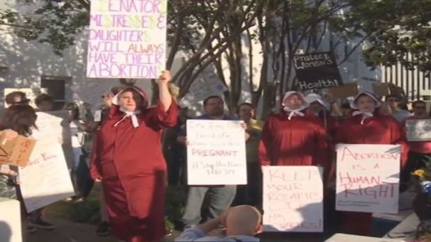 Supporters of abortion rights gathered outside the senate to protest against the move
