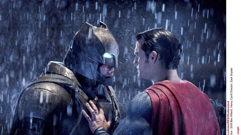 Ben Affleck (L) as Batman with Henry Cavill in 2016's Batman v Superman: Dawn of Justice