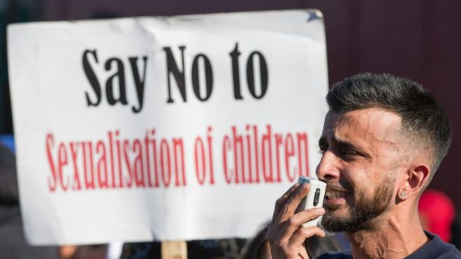 Parents, children and protestors demonstrate against the lessons about gay relationships, which teaches children about LGBT rights at the Anderton Park Primary School, Birmingham