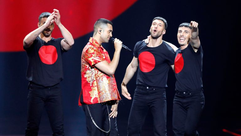 Mahmood (centre) of Italy came in second place