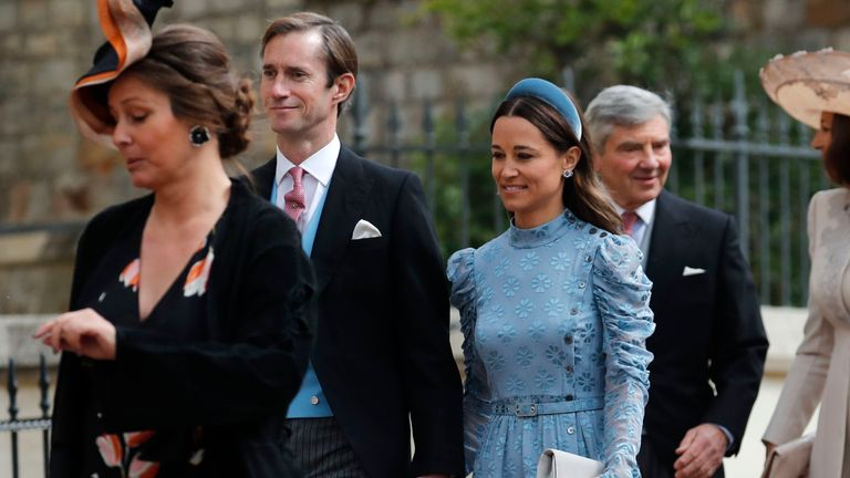 James Matthews and his wife Pippa (centre) arrive ahead of the wedding of Lady Gabriella Windsor and Thomas Kingston at St George's Chapel in Windsor Castle