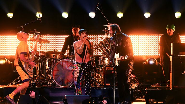 Red Hot Chili Peppers during the 61st Annual GRAMMY Awards at Staples Center on February 10, 2019 in Los Angeles, California.