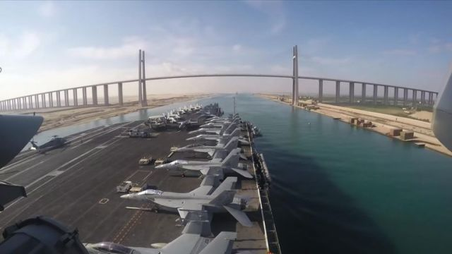 US aircraft carrier the USS Abraham Lincoln passes Egypt's Suez Canal on route to Iran deployment