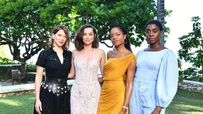 Cast members (l-r): Lea Seydoux, Ana de Armas, Naomie Harris and Lashana Lynch at the launch of the new Bond film