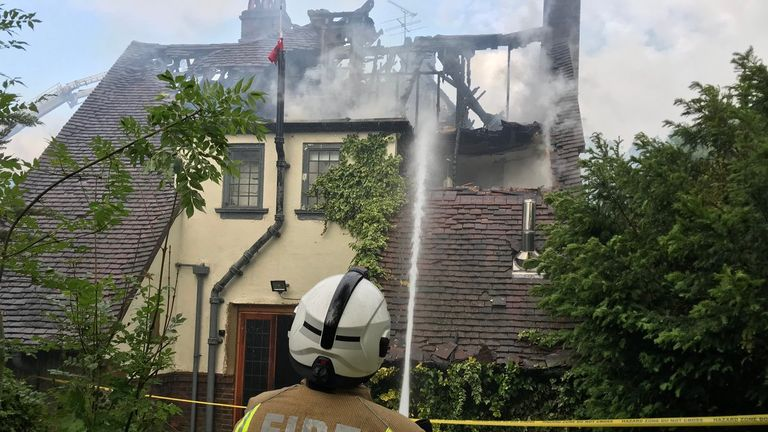 The fire brigade said part of the first and second floor were destroyed