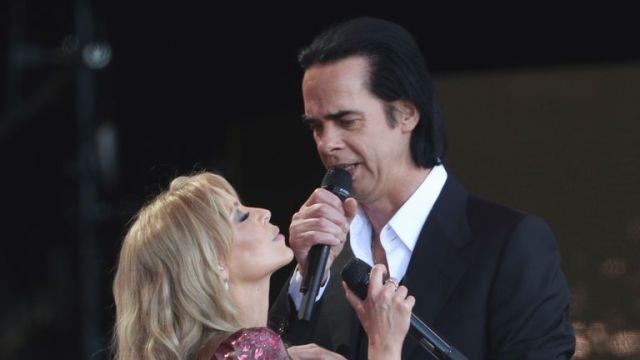Kylie invited several guests on stage for her set, including Nick Cave