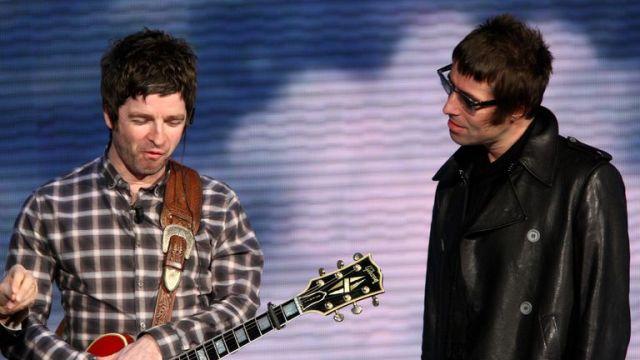 Noel Gallagher and Liam Gallagher Che Tempo Che Fa Italian TV Show in 2008 in Milan, Italy