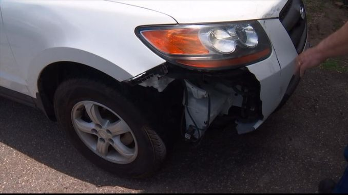 The car was damaged. PIC: Fox News