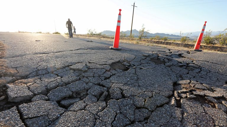 Fissures that opened up under a highway during a powerful earthquake that struck Southern California are seen near the city of Ridgecrest, California, U.S., July 4, 2019. REUTERS/David McNew
