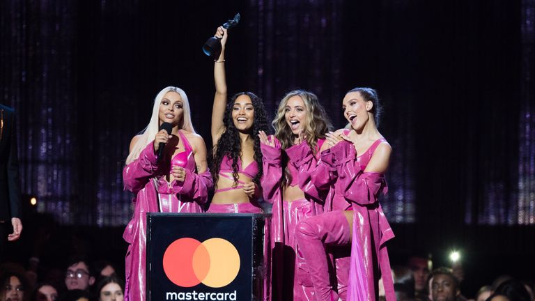 LONDON, ENGLAND - FEBRUARY 20: (EDITORIAL USE ONLY) Jade Thirlwall, Leigh-Anne Pinnock, Perrie Edwards and Jesy Nelson of Little Mix win Best British Artist Video of the Year award during The BRIT Awards 2019 held at The O2 Arena on February 20, 2019 in London, England. (Photo by Samir Hussein/WireImage)